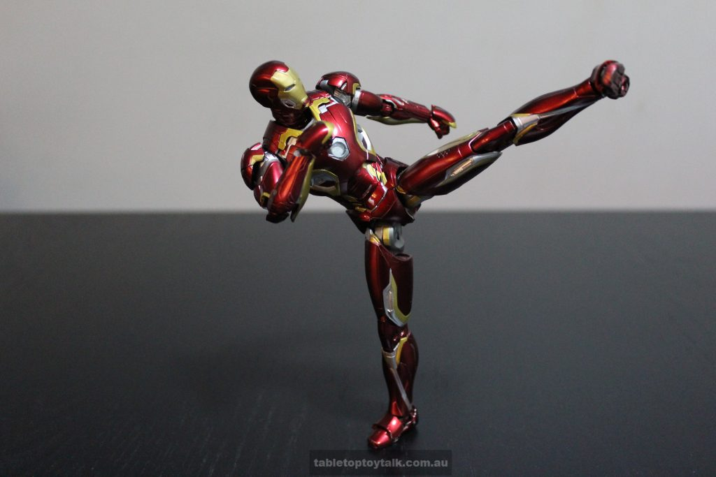 He can hold a high kick pose if you have the patience ; )